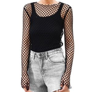 Tops - Fishnet Top Hollow Out Sexy Club Mesh Shirt